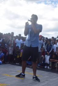 Kenjee Kennedy en train d'animer la Wake Up Session en Avril 2016 au Port Louis Waterfront. Evenement incontournable du Hip Hop Mauricien